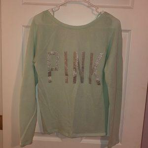 Women's scoop back seafoam green sweater